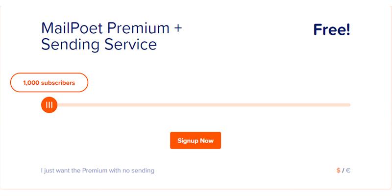 MailPoet Ücretsiz Servisleri