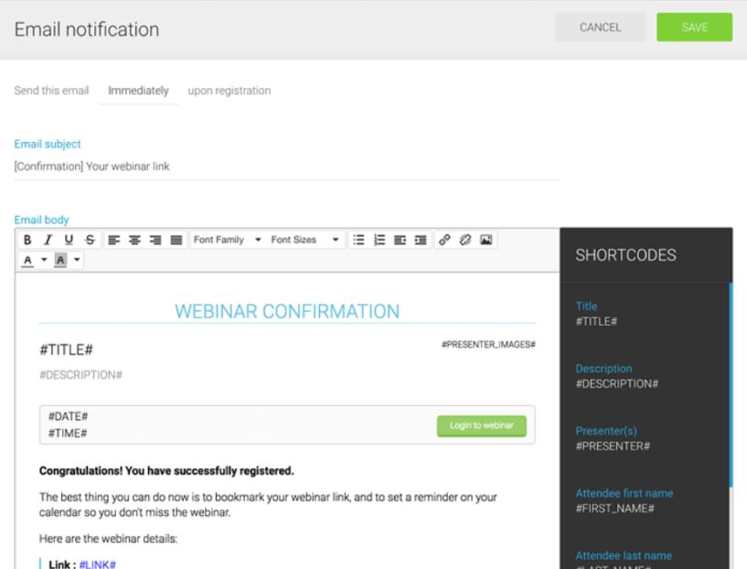 WebinarJam Email Notification
