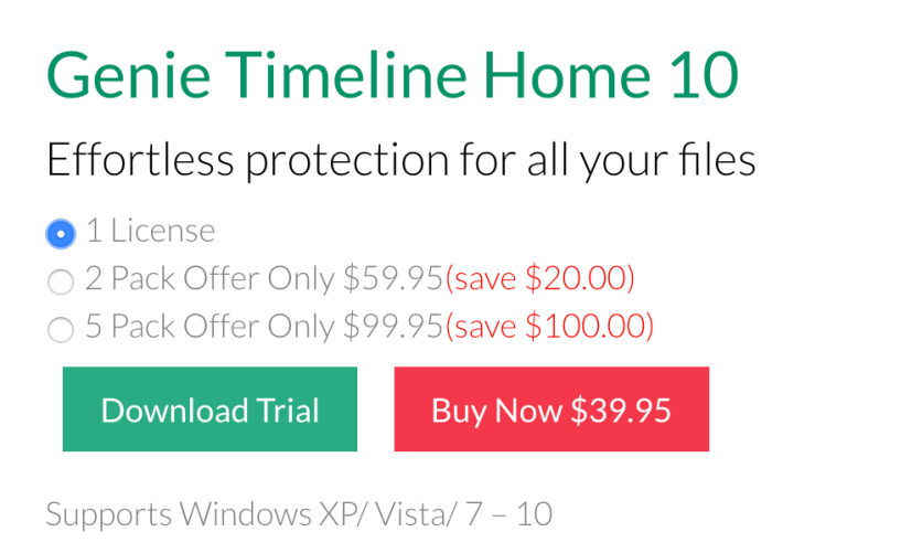 Genie Timeline Home 10 Pricing Plans