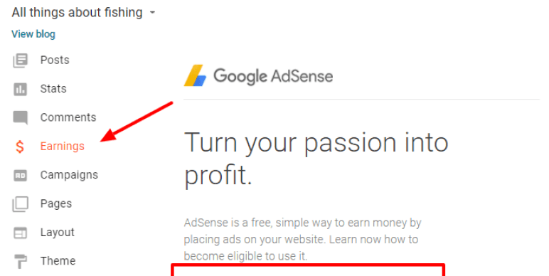 Monetize blogger blog with adsense
