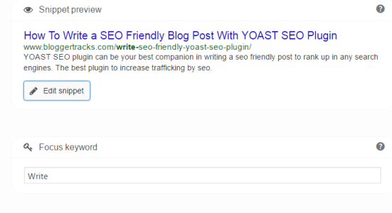 write seo friendly blog post - edit snippet