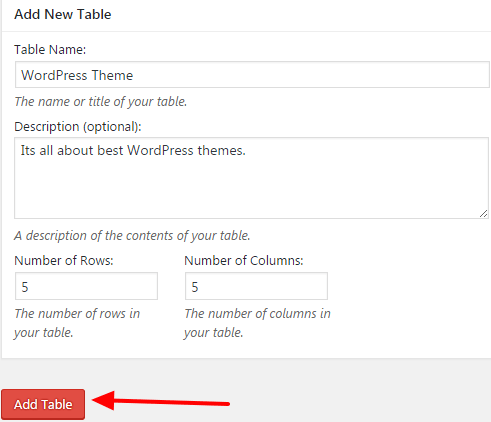 how to add a table on wordpress