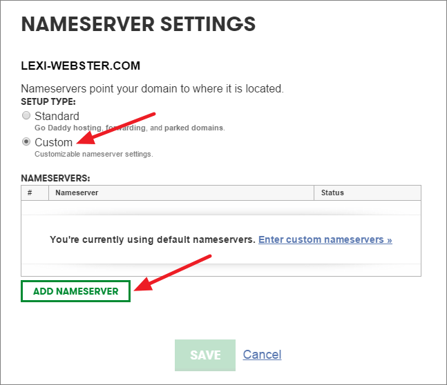 connect godaddy domain to hostgator - custom nameservers