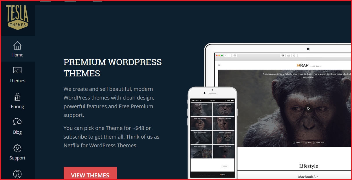 wordpress premium theme providers - tesla theme homepage