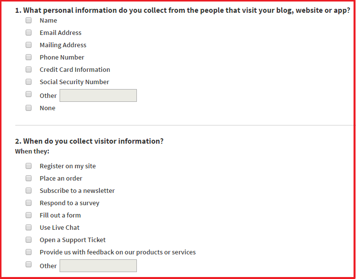 how to create a privacy policy page