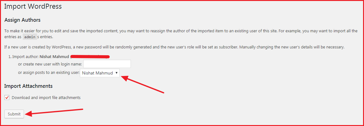 Move Post One WordPress Blog to Another - Assign Author