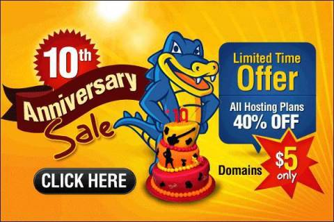 Hostgator Web Hosting Discount Coupons on 10th Birthday Anniversary 2012