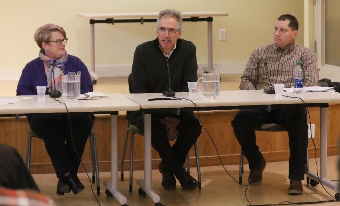 Flood, seated at right, is a veteran and one of three candidates for Board of Selectman.