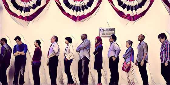 line of voters voting