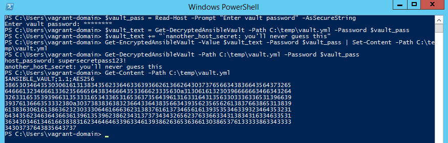 Decrypting the secrets of Ansible Vault in PowerShell