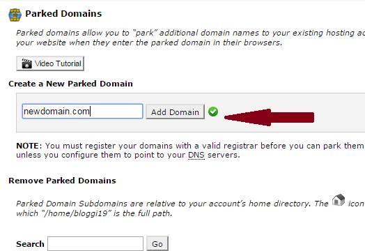 park a domain name