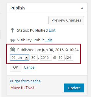 Backdating blog posts