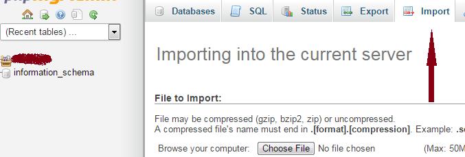 how to import mysql database into phpmyadmin