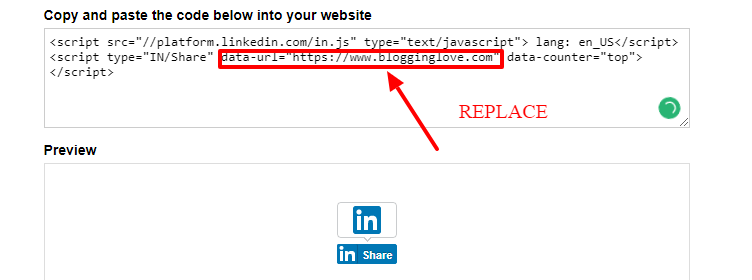 LinkedIn share button code