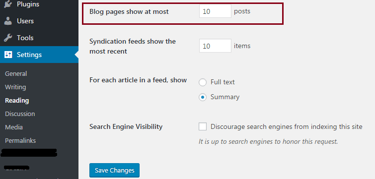 how to change the number of posts per page in wordpress