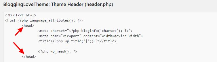 add code in header