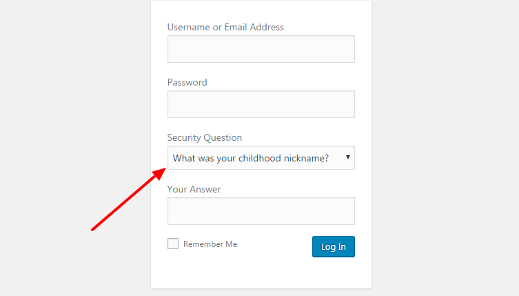 add a security question in wordpress