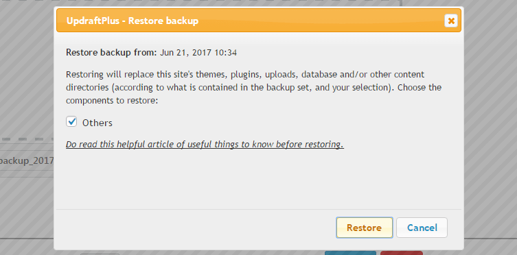 use updraftplus for backup and restore your website