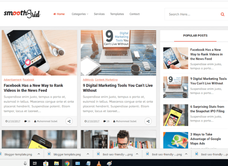 smooth grid blogger template