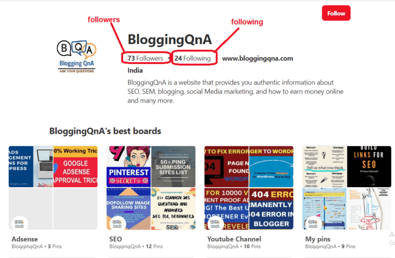 blogging qna pinterest profile