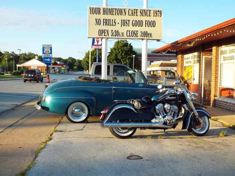 Classic American Car and Indian Motorbike outside a diner in Cartage Missouri