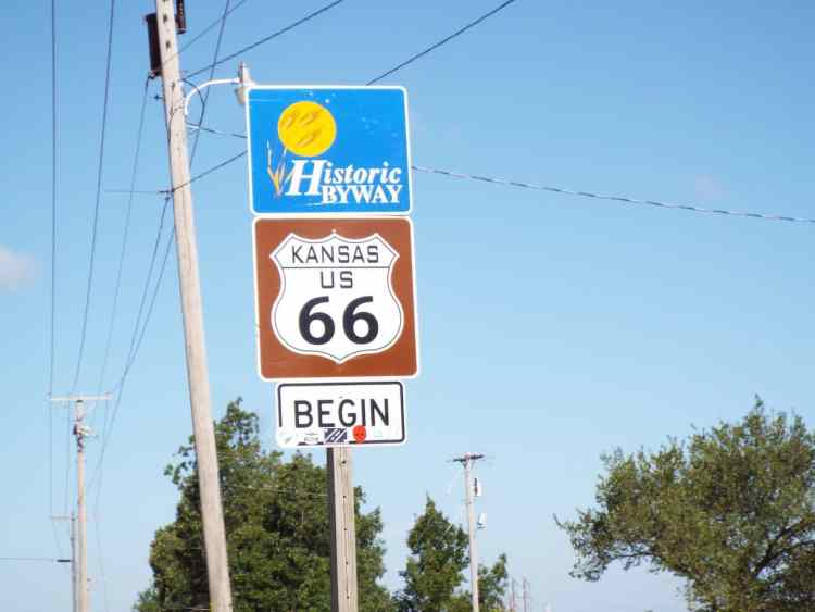 the start of 13 miles of route 66 in the state of Kansas