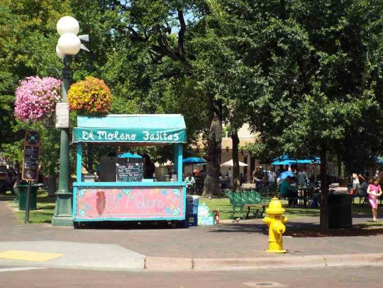 Fajitas for sale from the street vendors in Santa Fe town square