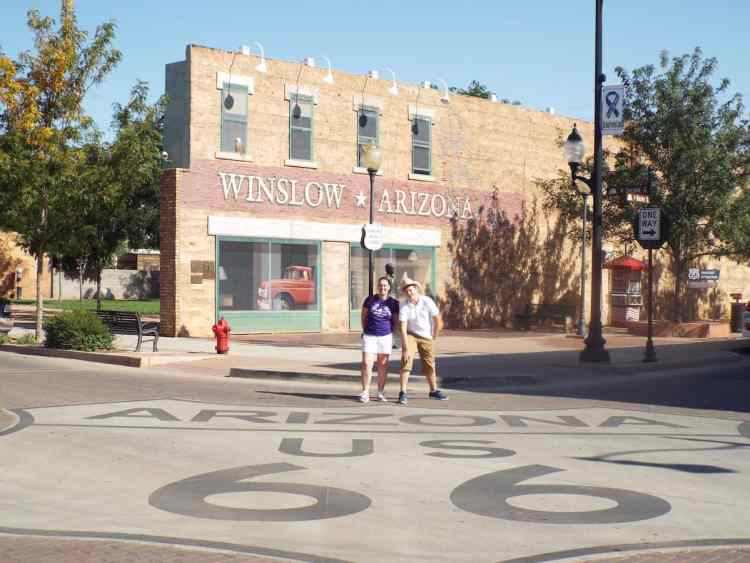 Thats a big route 66 shield on the road in Winslow Arizona