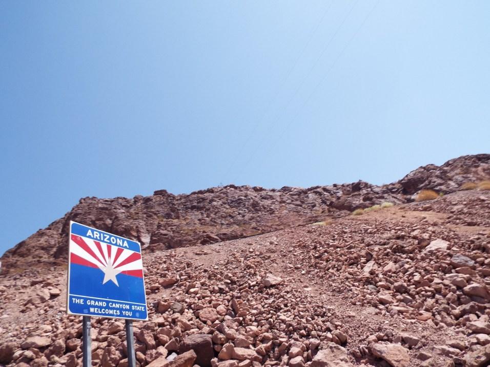 Arizona state line road sign