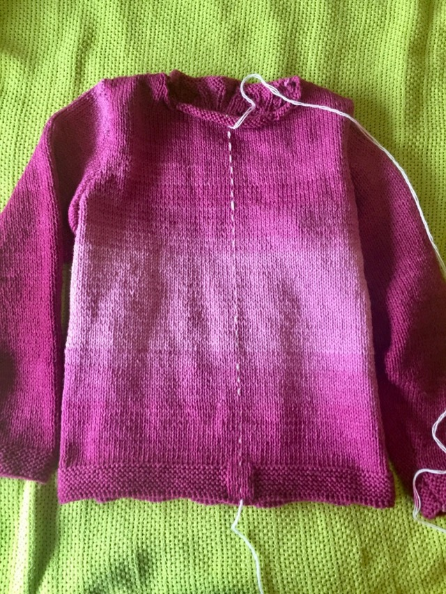 red heart ombre pink cardigan