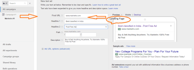 create google adwords