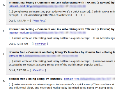 Example of trackback splog comment spam