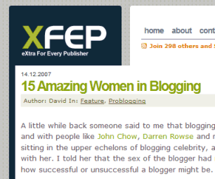 David Peralty's article on Amazing Women Bloggers