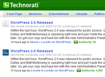 Technorati Authority Rank shows 2 different rankings for Lorelle on WordPress