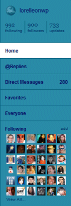 Twitter Sidebar, example of a modern contact list