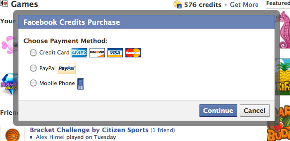 Facebook Credit Purchase PayPal