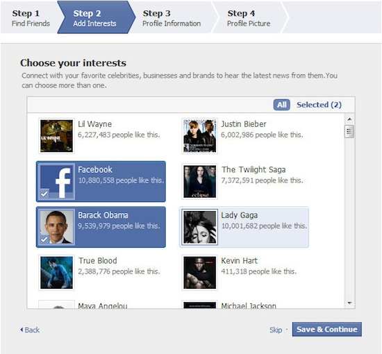 Facebook Suggestions Pages