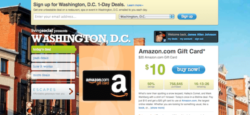 LivingSocial Screenshot - Amazon Gift Card Deal