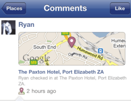 Facebook Places Map added for iPhone users