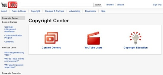 YouTube Copyright Center Screenshot