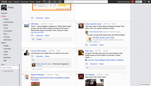 Google+ side-by-side view