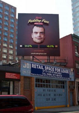 Pudding face: Twitter powered billboard shows America's mood
