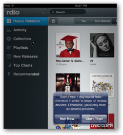 Rdio Free Trial with Facebook Account