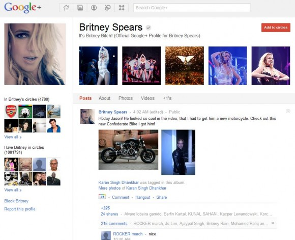 Britney Spears Google Plus Page