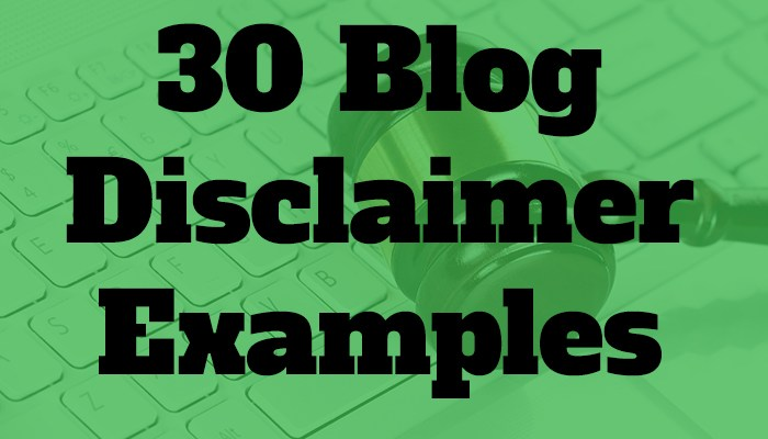 blog disclaimer examples
