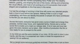 Reveladas Cartas Técnicas Enviadas por David Yates a los Proyeccionistas de 'Las Reliquias, Parte II'!