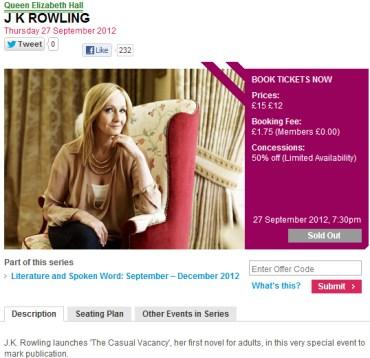 BH estará presente en la presentación y firma de The Casual Vacancy, la nueva novela de Rowling!