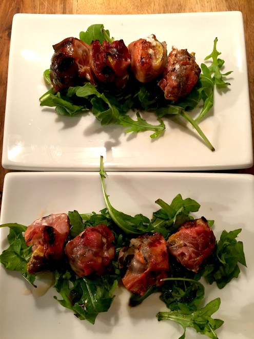 Figs and goat cheese wrapped in prosciutto
