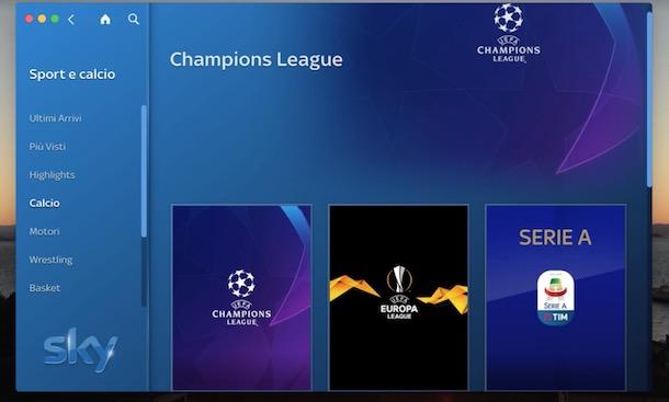 Come vedere la Champions League tramite sky go