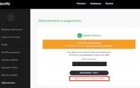 Come disattivare rinnovo abbonamento Spotify Premium